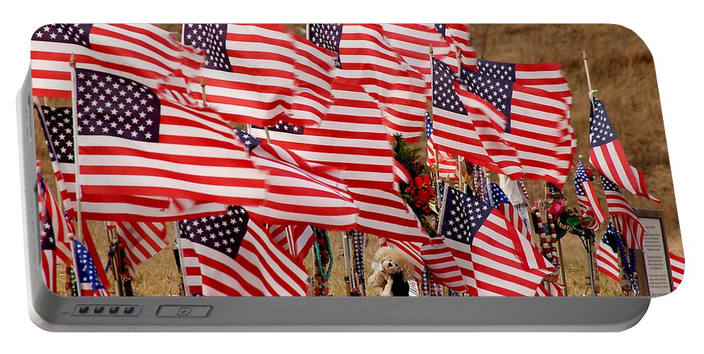 Flags Portable Battery Charger featuring the photograph Flight 93 Flags by Jean Macaluso