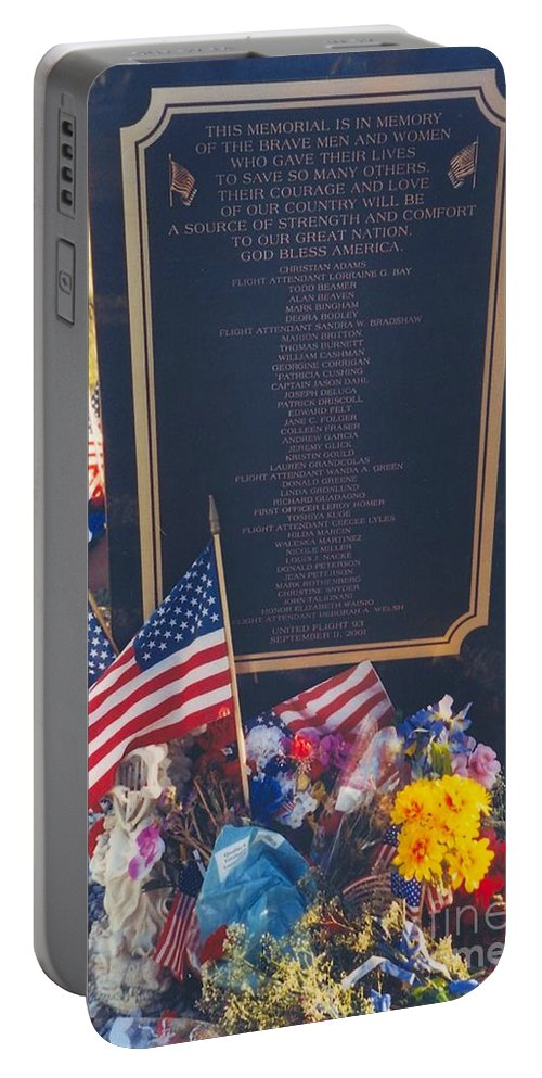 Flight 93 Heros Portable Battery Charger featuring the photograph Flight 93 Heros by Penny Neimiller