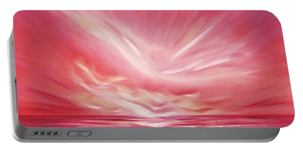 Sunset Portable Battery Charger featuring the painting Flight At Sunset by Gina De Gorna