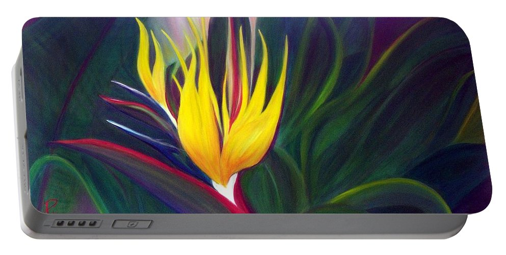 Bird Of Paradise Portable Battery Charger featuring the painting Bird Of Paradise by Dina Holland