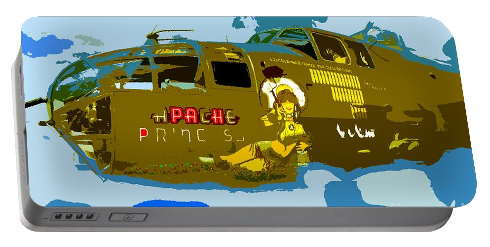 Bomber Portable Battery Charger featuring the painting Flight Of The Apache Princess by David Lee Thompson
