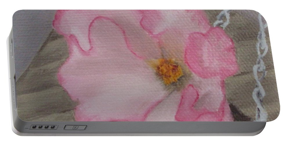 Flower Portable Battery Charger featuring the painting Flirty Begonia by Lea Novak