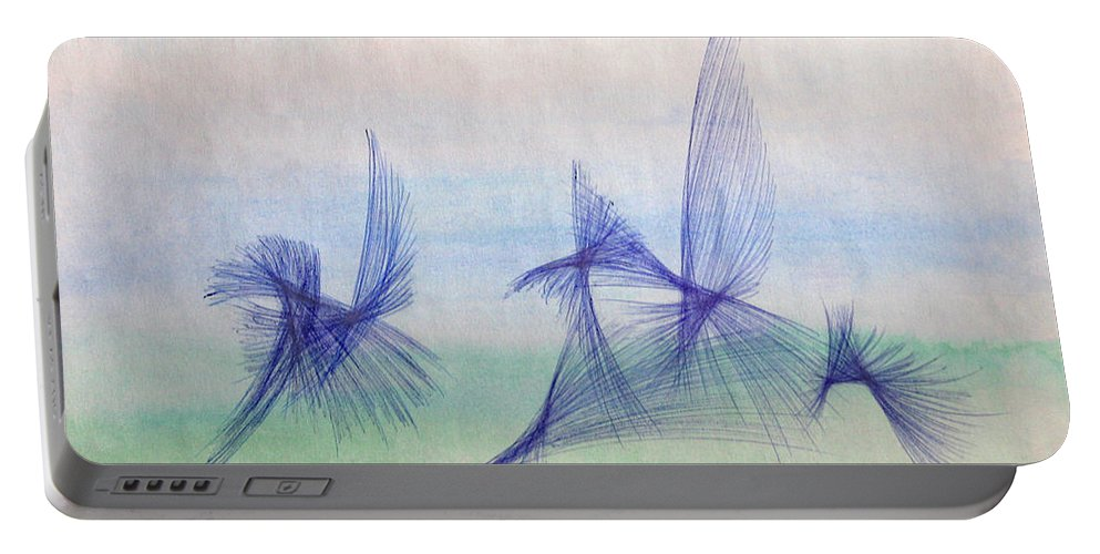 Abstract Portable Battery Charger featuring the mixed media Float by Steve Karol