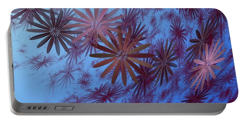 Fantasy Portable Battery Charger featuring the digital art Floating Floral - 001 by David Lane