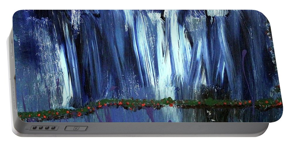 Blue Portable Battery Charger featuring the painting Floating Gardens by Pam Roth O'Mara