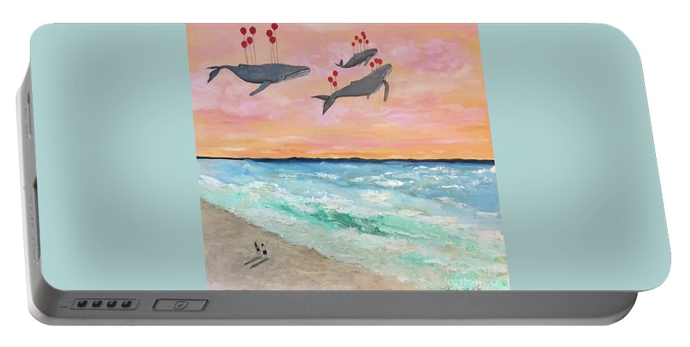 Surrealism; Collaboration; Beach; Sunset; Whales; Saying Goodbye; Death; Life; Water; Ocean Portable Battery Charger featuring the painting Floating Into The Sunset by Pamela O'Brien