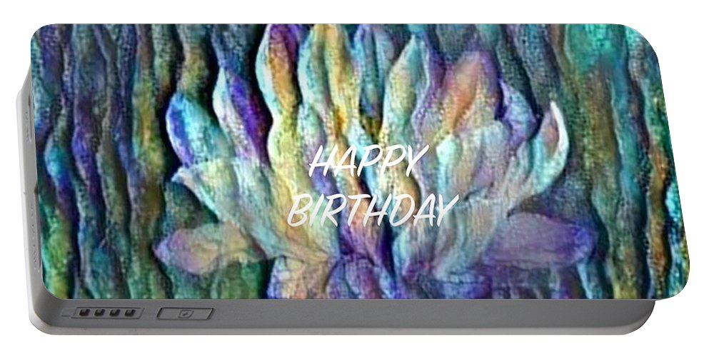 Floating Lotus Portable Battery Charger featuring the digital art Floating Lotus - Happy Birthday by Artistic Mystic