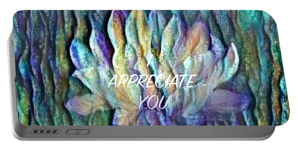 Floating Lotus Portable Battery Charger featuring the digital art Floating Lotus - I Appreciate You by Artistic Mystic