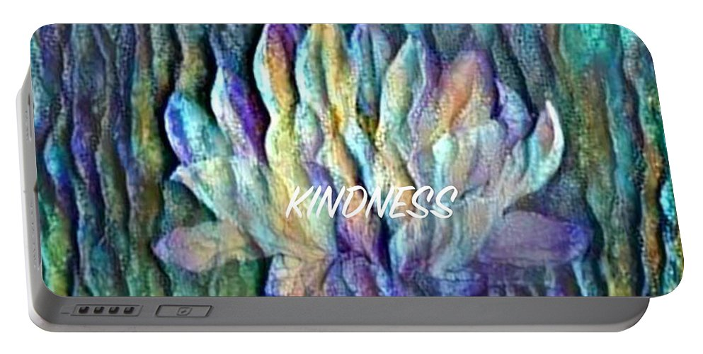 Floating Lotus Portable Battery Charger featuring the digital art Floating Lotus - Kindness by Artistic Mystic