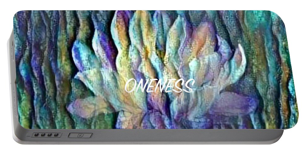 Floating Lotus Portable Battery Charger featuring the digital art Floating Lotus - Oneness by Artistic Mystic