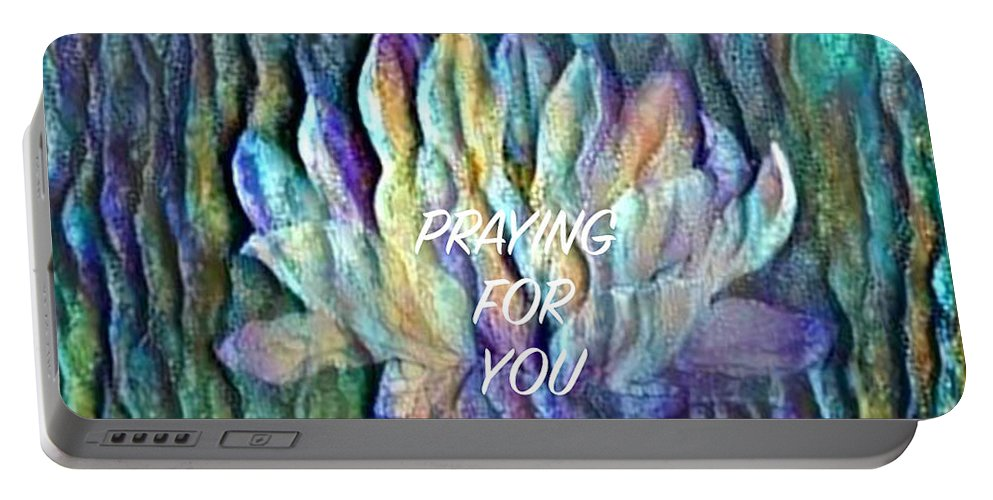 Floating Lotus Portable Battery Charger featuring the digital art Floating Lotus - Praying For You by Artistic Mystic