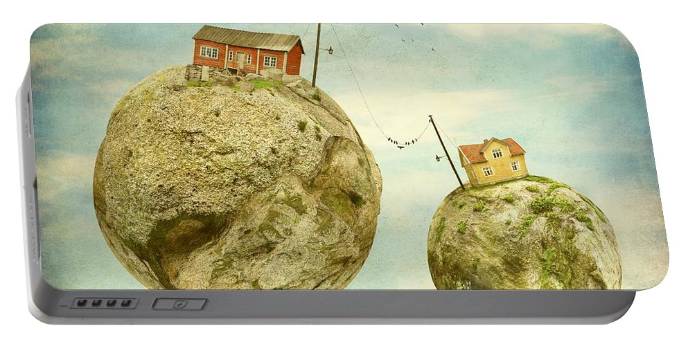 Surrealism Portable Battery Charger featuring the photograph Floating Village by Sonya Kanelstrand