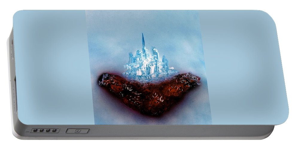 Fantasy Portable Battery Charger featuring the painting Floating World by Nandor Molnar