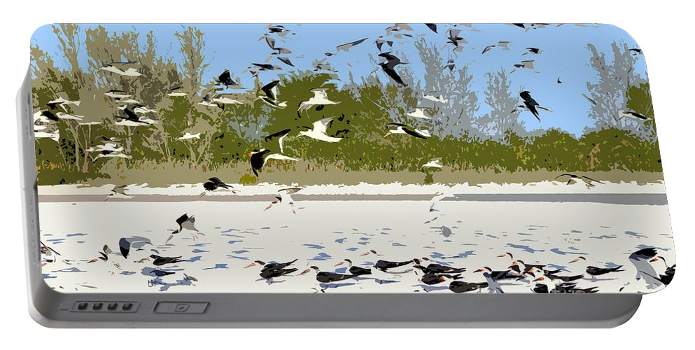 Seagulls Portable Battery Charger featuring the painting Flock Of Seagulls by David Lee Thompson