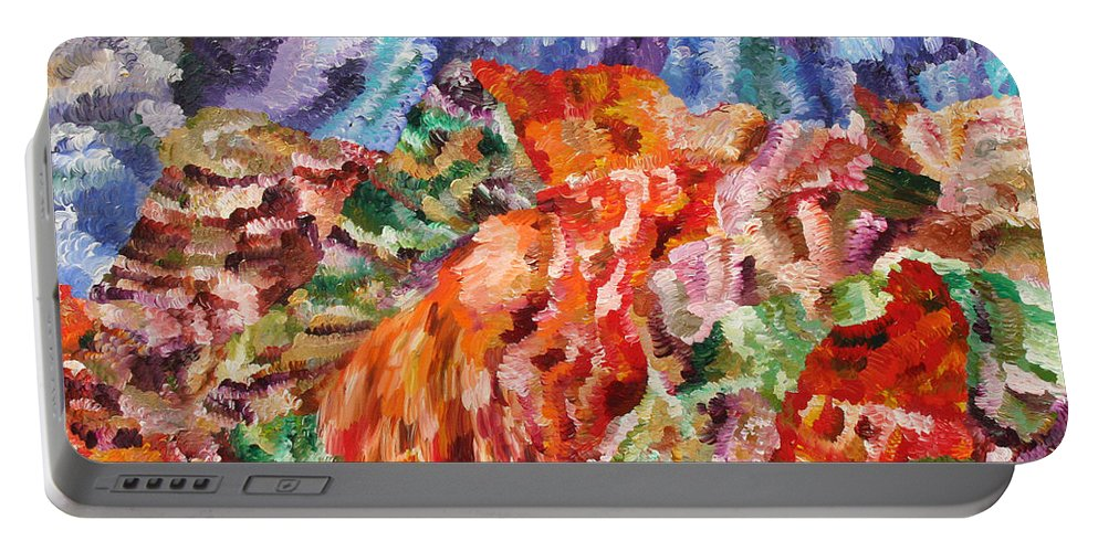 Fusionart Portable Battery Charger featuring the painting Flock by Ralph White