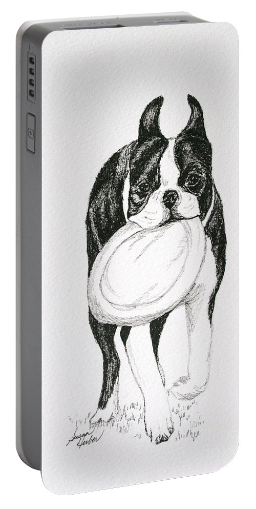 Boston Terrier Portable Battery Charger featuring the drawing Floppy Disk by Susan Herber