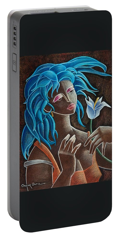 Puerto Rico Portable Battery Charger featuring the painting Flor Y Viento by Oscar Ortiz