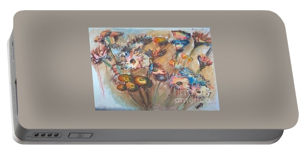 Flower Portable Battery Charger featuring the painting Flora by Leslie Dobbins