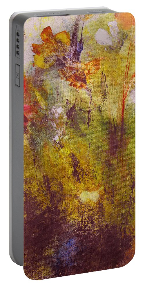 Botanical Portable Battery Charger featuring the painting Flora by Ruth Palmer