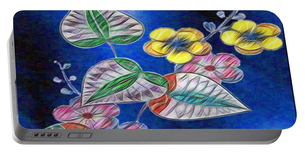 Digital Art And Illustration Portable Battery Charger featuring the digital art Floral Art Illustrated by Mario Carini