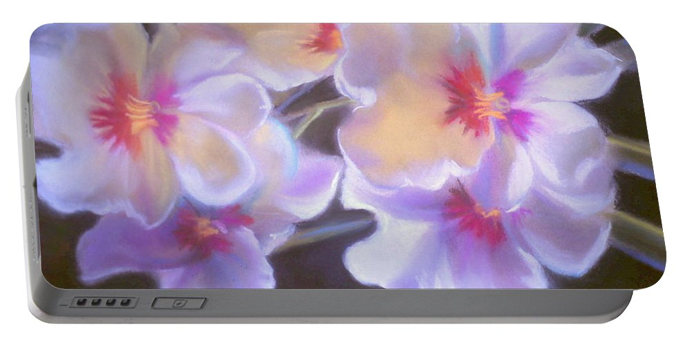 Art Flower Portable Battery Charger featuring the pastel Floral Beauty by Louise Lavallee