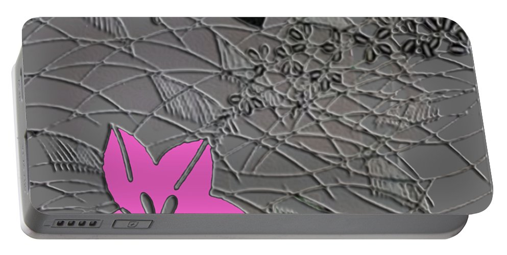 Chirimen Portable Battery Charger featuring the digital art Floral Chirimen by Asok Mukhopadhyay
