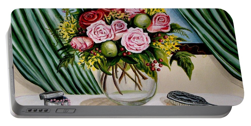 Floral Portable Battery Charger featuring the painting Floral Essence by Elizabeth Robinette Tyndall