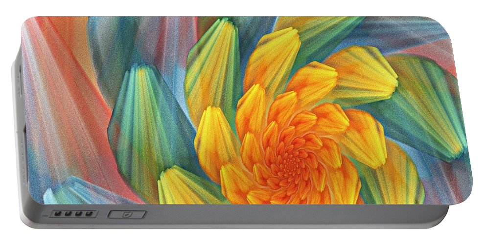 Digital Painting Portable Battery Charger featuring the digital art Floral Expressions 1 by David Lane