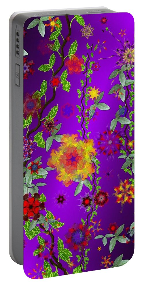 Flower Portable Battery Charger featuring the digital art Floral Fantasy 122410 by David Lane