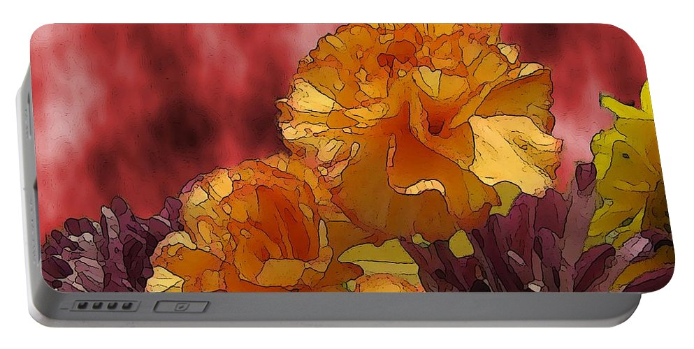 Flowers Portable Battery Charger featuring the digital art Floral Fiesta by Tim Allen