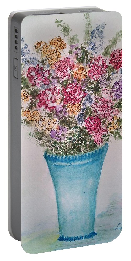 Floral Portable Battery Charger featuring the painting Floral Inked by Susan Nielsen