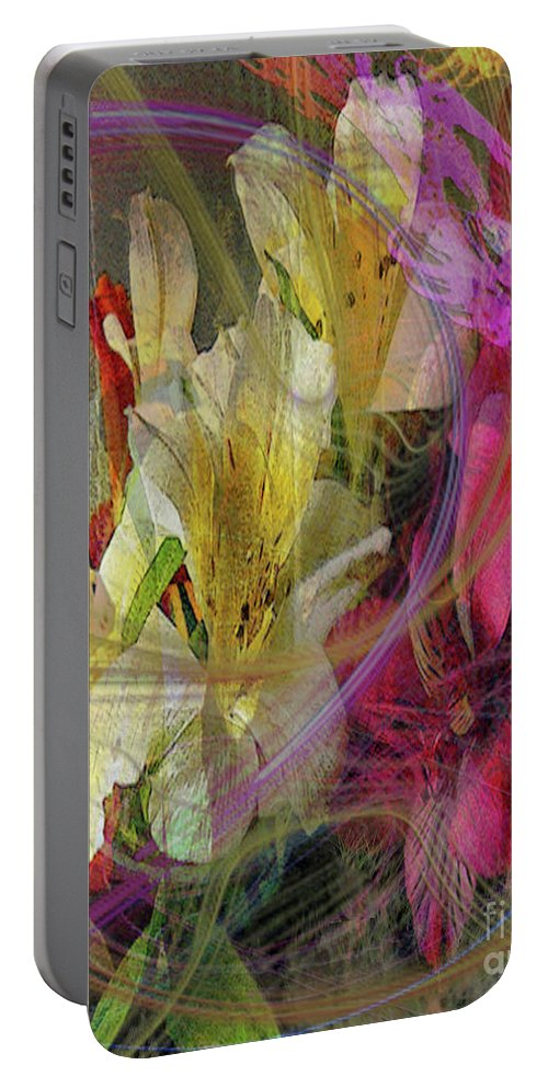 Floral Inspiration Portable Battery Charger featuring the digital art Floral Inspiration by John Beck