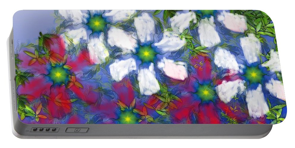 Flowers Portable Battery Charger featuring the digital art Floral Madness 2 by David Lane
