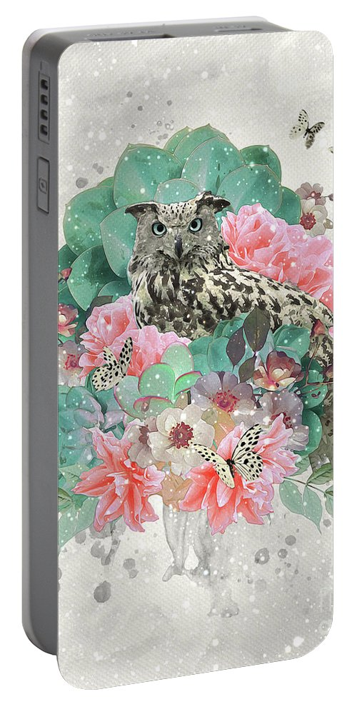 Owl Portable Battery Charger featuring the digital art Floral Owl by Donika Nikova