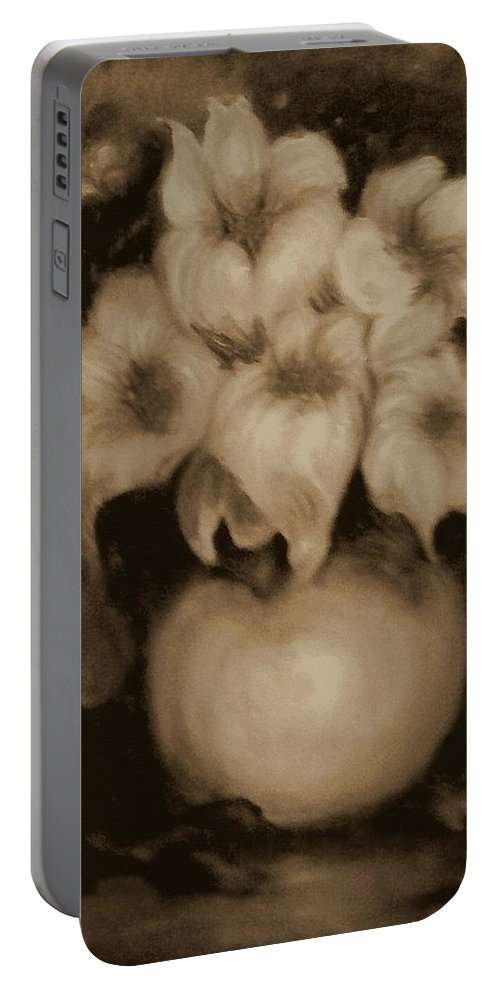 Floral. Brown Flowers Portable Battery Charger featuring the painting Floral Puffs In Brown by Jordana Sands