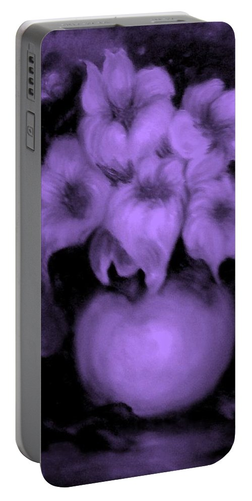Prple Flowers Portable Battery Charger featuring the painting Floral Puffs In Purple by Jordana Sands