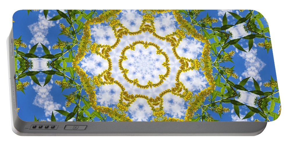 Kaleidoscope Portable Battery Charger featuring the digital art Floral Sun by Shawna Rowe
