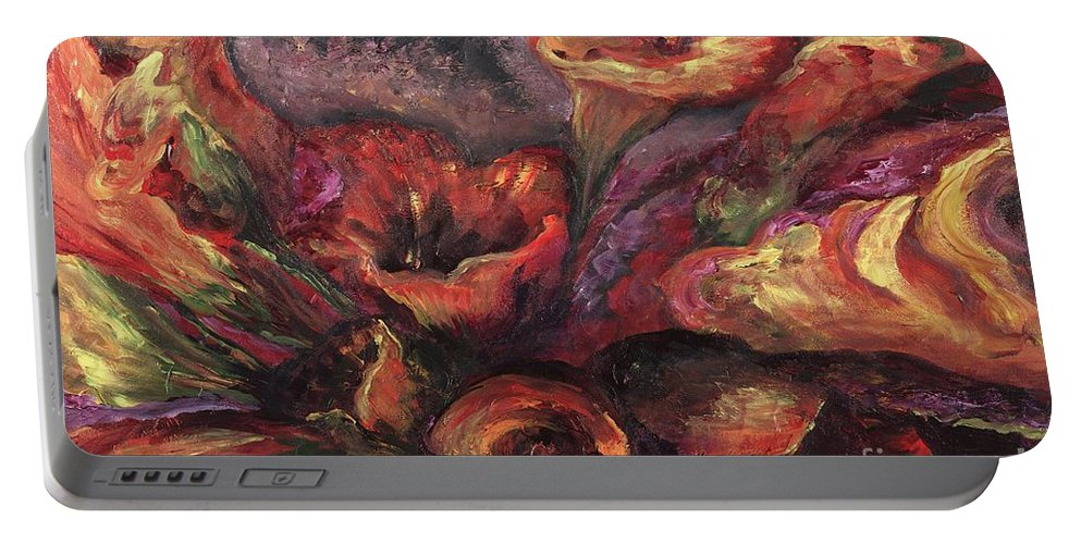 Calla Lilies Portable Battery Charger featuring the painting Floral Sun Worship by Nadine Rippelmeyer