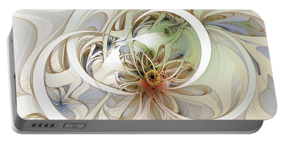 Digital Art Portable Battery Charger featuring the digital art Floral Swirls by Amanda Moore