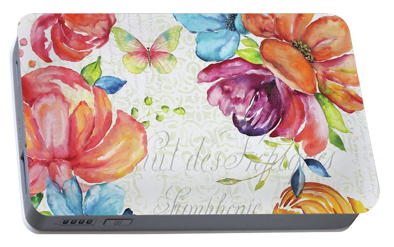 Floral Portable Battery Charger featuring the painting Floral Symphonie by Jean Plout