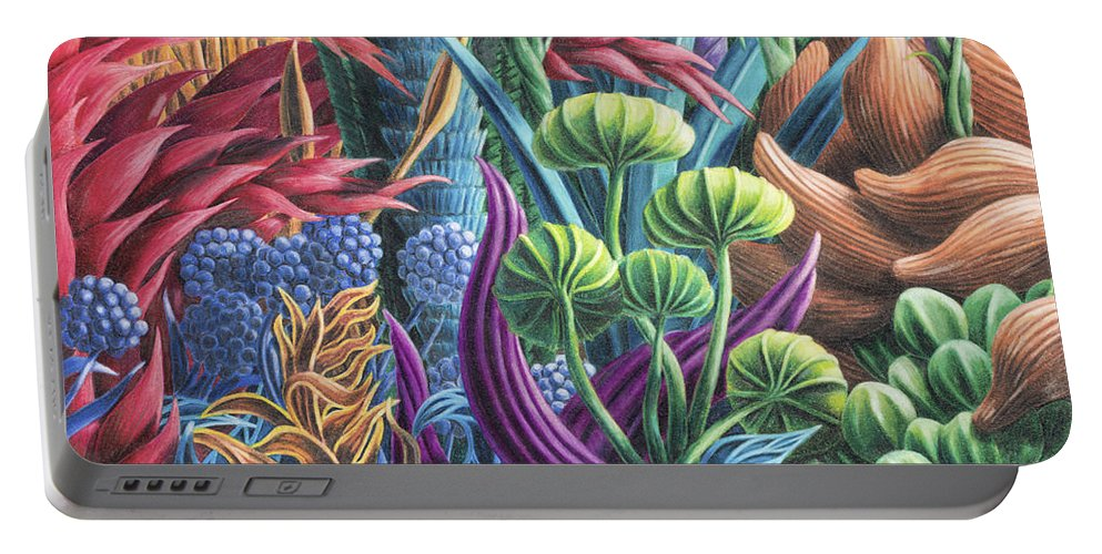 Fine Art Portable Battery Charger featuring the drawing Floral Whirl by Scott Brennan
