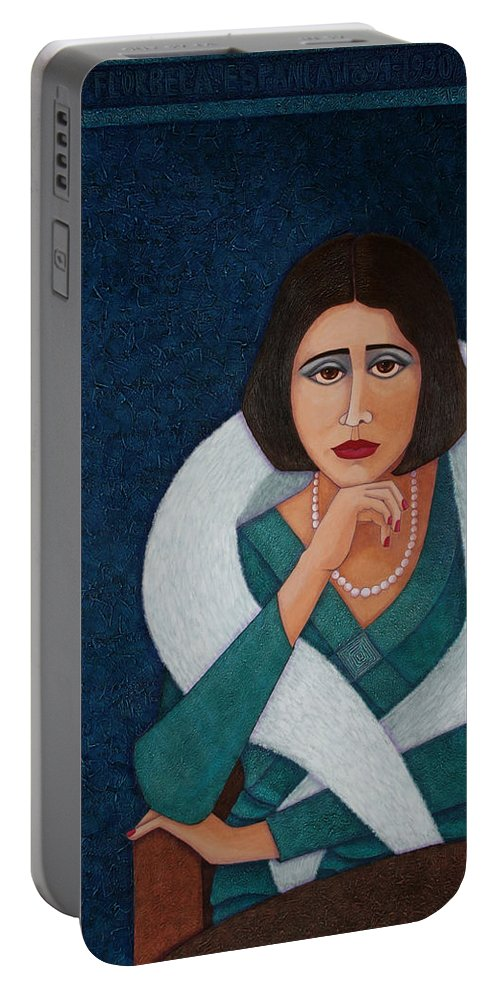 Florbela-espanca Portable Battery Charger featuring the painting Florbela Espanca - There Is A Spring In Every Life by Madalena Lobao-Tello