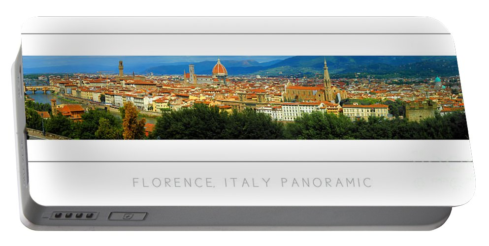 Portable Battery Charger featuring the photograph Florence, Italy Panoramic Poster by Mike Nellums