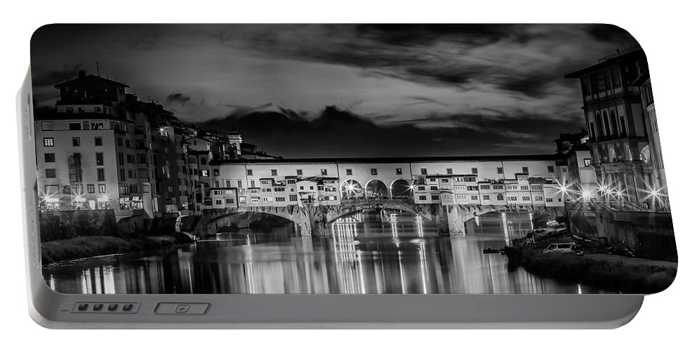 Ancient Portable Battery Charger featuring the photograph Florence Ponte Vecchio At Sunset Monochrome by Melanie Viola