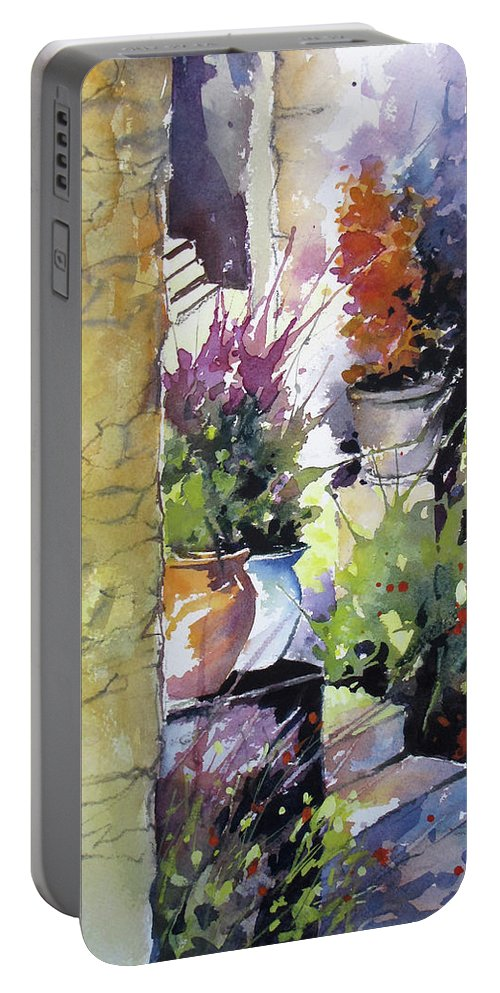 Landscape Portable Battery Charger featuring the painting Florentine Entry by Rae Andrews