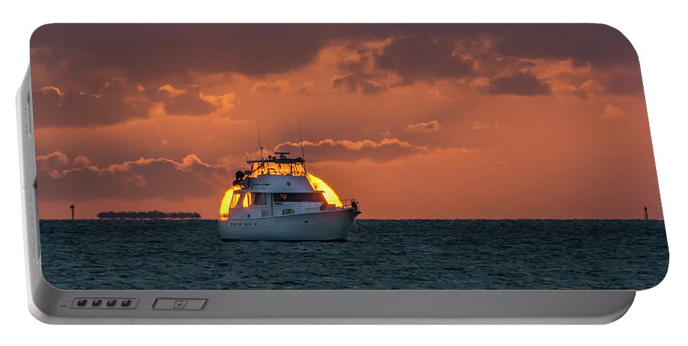 Yacht Portable Battery Charger featuring the photograph Florida Eclipse by Jerry Gammon