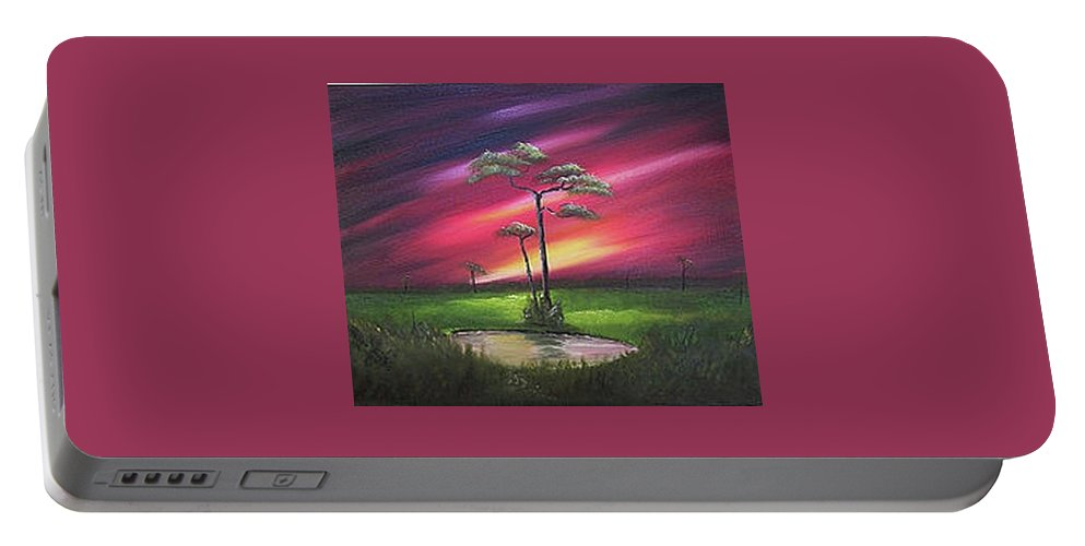 Cliffs Portable Battery Charger featuring the painting Florida Sunset by John Johnson
