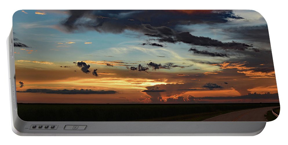 Delray Portable Battery Charger featuring the photograph Florida Sunset Winding Road 2 by Ken Figurski