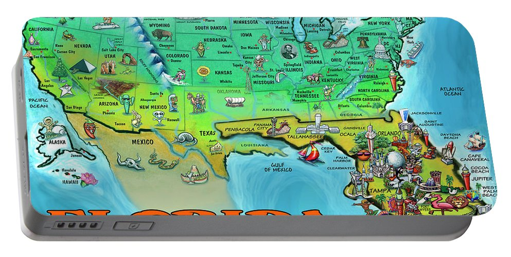 Florida Portable Battery Charger featuring the painting Florida Usa Cartoon Map by Kevin Middleton