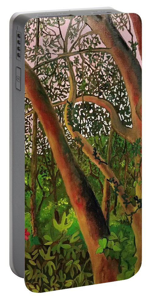 Woods Portable Battery Charger featuring the painting Florida Woodlands by Cindy Harvell
